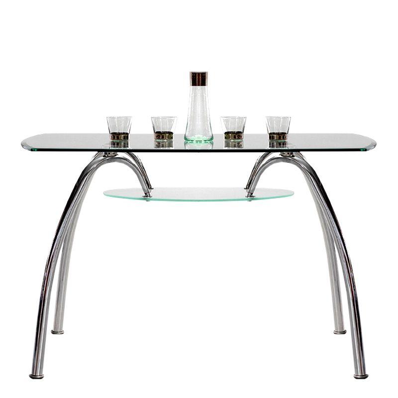 Mesa de comedor berlín en acero cromado y cristal templado ...