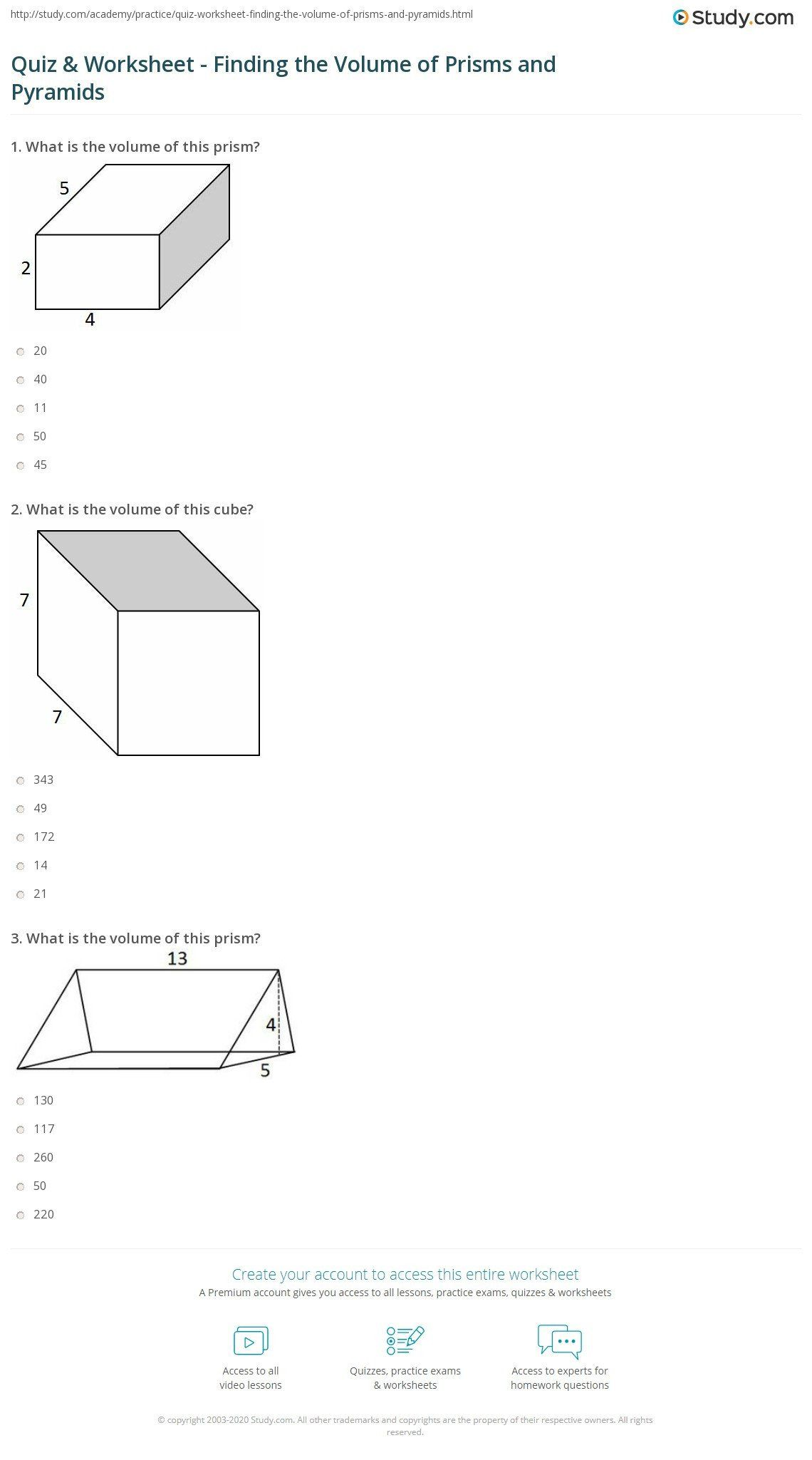 Volume Of Pyramids Worksheet Quiz Amp Worksheet Finding The