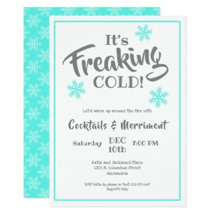 Witty Winter Cocktail Party Card Script Gifts Template