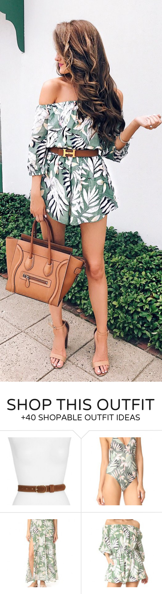 fb83810dac7  summer  outfits Tropical Off The Shoulder Romper + Camel Leather Tote Bag  + Nude