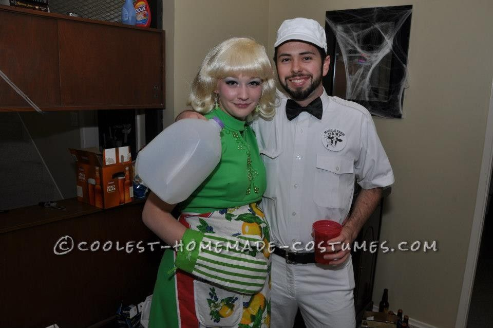 The Best Pregnant Housewife and Milkman Couple Costume! Housewife - best halloween costume ideas for couples
