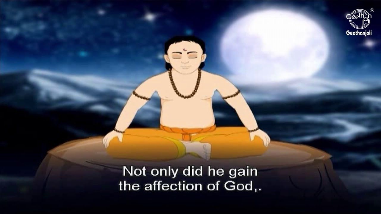 Dhruva was an ardent young devotee of Vishnu, a prince blessed by Lord Vishnu with eternal life and glory as the Pole star (Dhruva Nakshatra). The story of Dhruva's life is often told to hindu children as an example of perseverance, devotion, steadfastness and fearlessness.