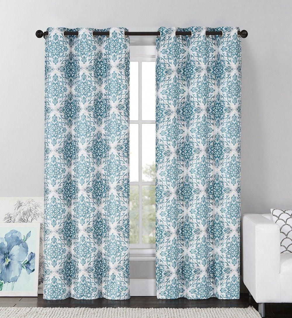 Vcny Sylvia Room Darkening Blackout Curtains Grommet Thermal 2 Panel Set Teal Medallion 84 Length Update Your H Grommet Curtains Curtains Window Curtains