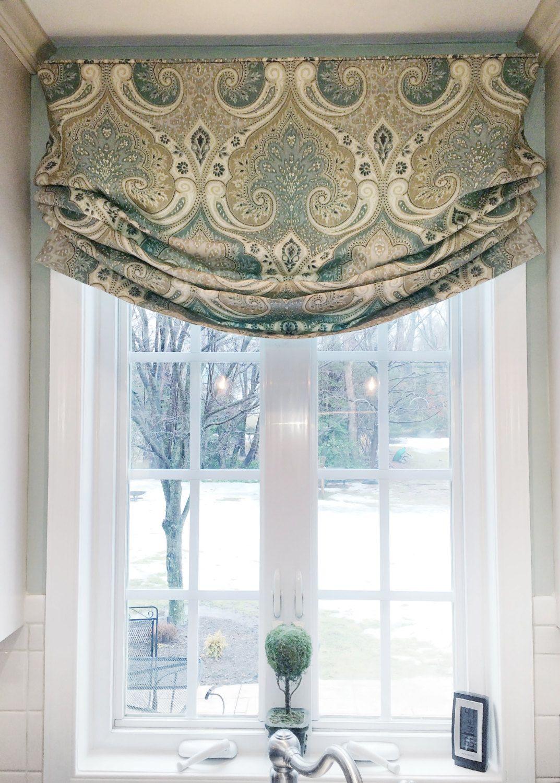 Kitchen window roman blinds  faux roman shade valance custom window treatment  relaxed style