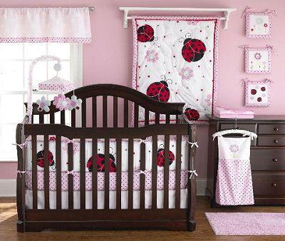 baby+girl+bedding | ... brown, red and black mod baby girl ladybug ...