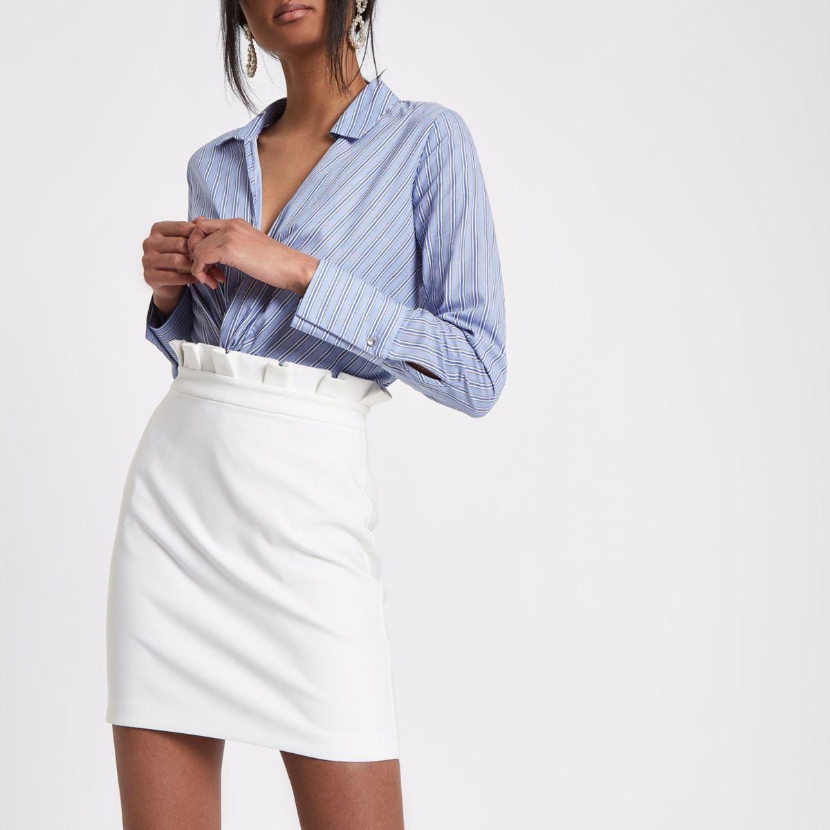 efbbc8bd7 White paperbag mini skirt | River Island | Mini skirts, White skirt ...