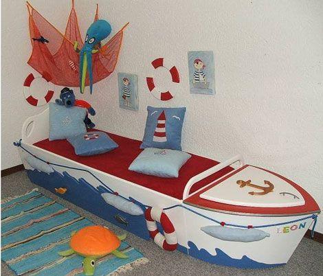 Cama en forma de bote, para niños Diseños de camas niñ@s