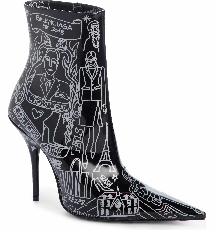 BalenciagaWomen's Print Pointy Toe Bootie 5qoWZB