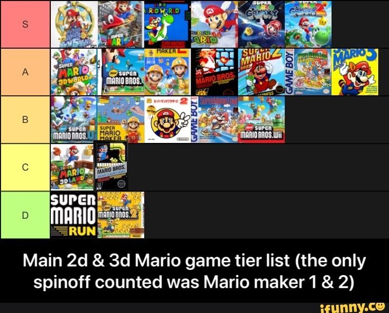 Main 2d & 3d Mario game tier list (the only spinoff