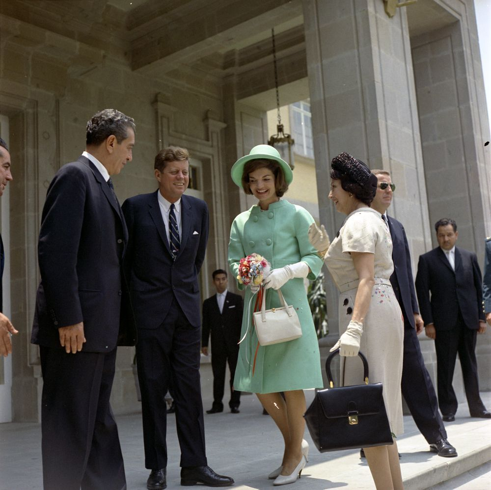 President John F. Kennedy and First Lady Jacqueline Kennedy arrive at Los Pinos, the official residence of President Adolfo López Mateos of Mexico.