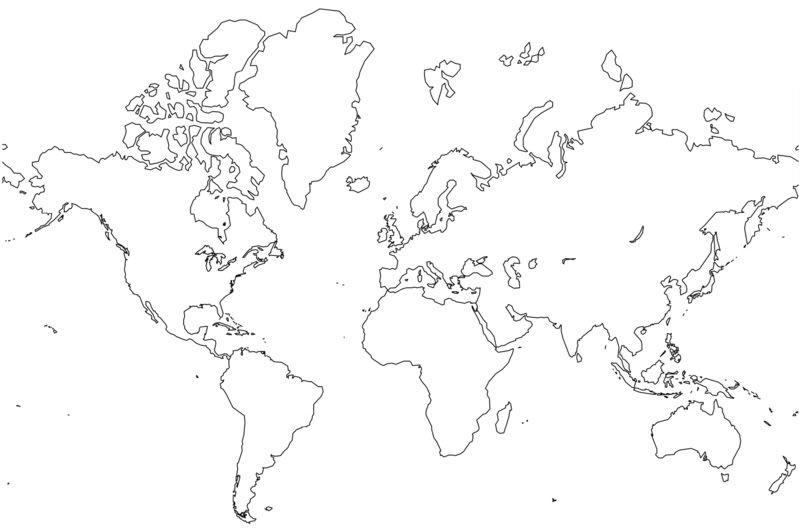 continents cut and paste puzzle map with just the outline of - new google world map printable