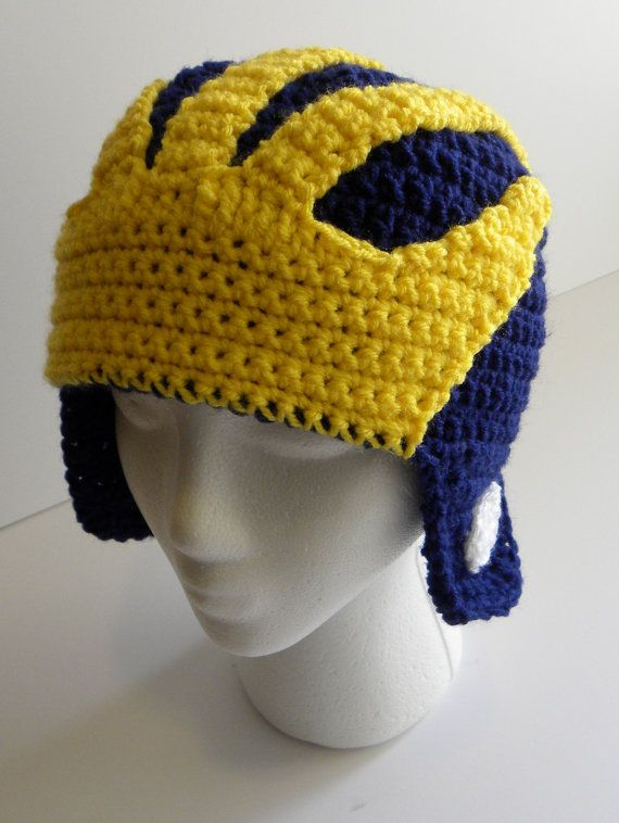 CROCHET PATTERN Michigan Wolverines Helmet Hat w/permission to sell ...
