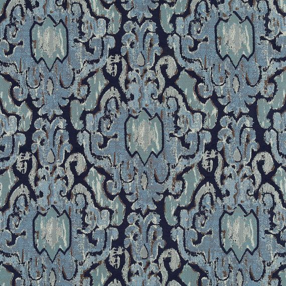 A Heavyweight Ikat Upholstery Fabric In A Modern Design Of Navy Blue, Steel  Blue And Cocoa Brown. This Chenille Home Decor Fabric Is Suitable For