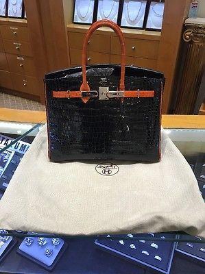 4131ccbeb40 Hermes-Birkin-Bag-Crocodile-35cm-Special-Order-Bi-Color-Black-Orange -VERY-RARE