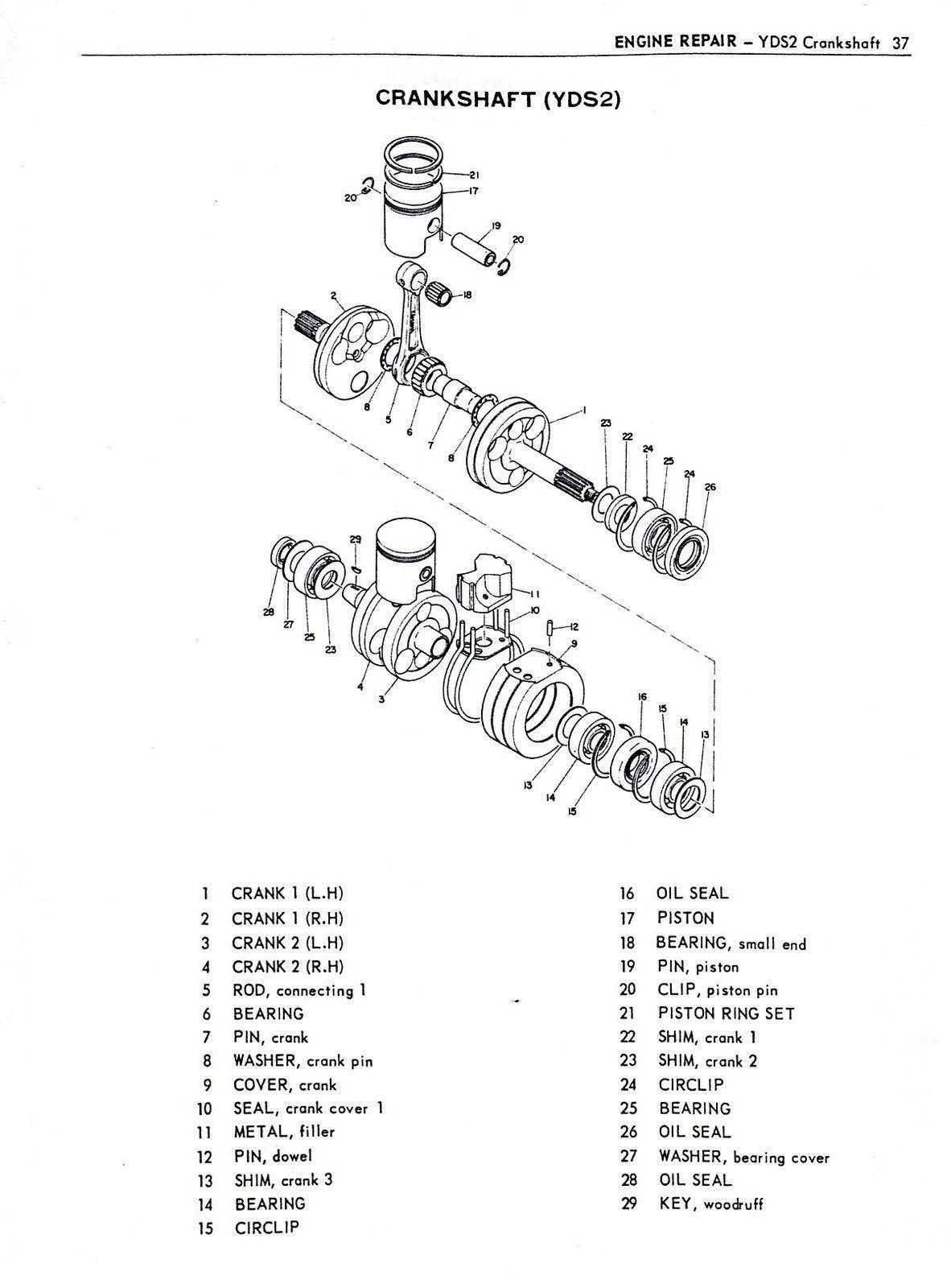 small resolution of 1962 1966 250 305 yamaha twins service manual ym1 yd3 yds2 yds3c vjmc yd2 yds1 ebay