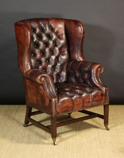 Armchair   Traditional Somerset Leather Archchairs By Wing Chairs.com