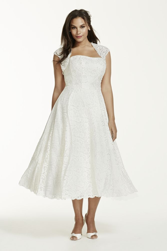 144a6aff361 Tea-Length Plus Size Wedding Dress with Shrug Style 9T9948 ...