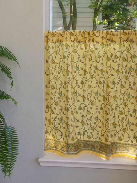 Yellow Floral Summer Beach KITCHEN CURTAIN Summers Come And Go But