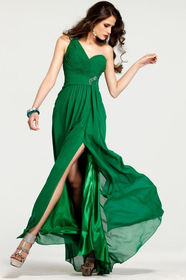 Ruched Slitted A-line One-shoulder Floor-length Chiffon Evening ...