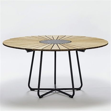 Round Dining Table Circle Bamboo And Granite Steel Outdoor