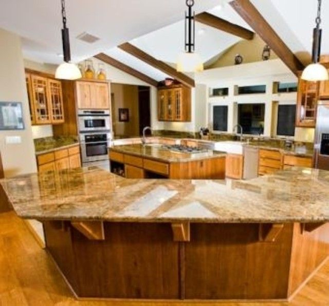 Big Kitchen Island With Storage Semi Round Shaker Style Kitchen By Entertainment Centers Plus