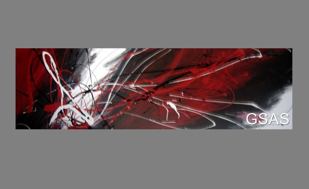 Huge Abstract Canvas Painting Wall Art Black White And Red