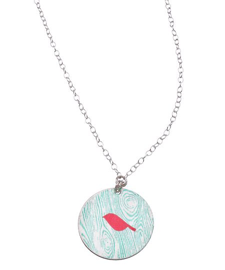 Carrie Saxl Silver Wood Grain and Bird Pendant Necklace