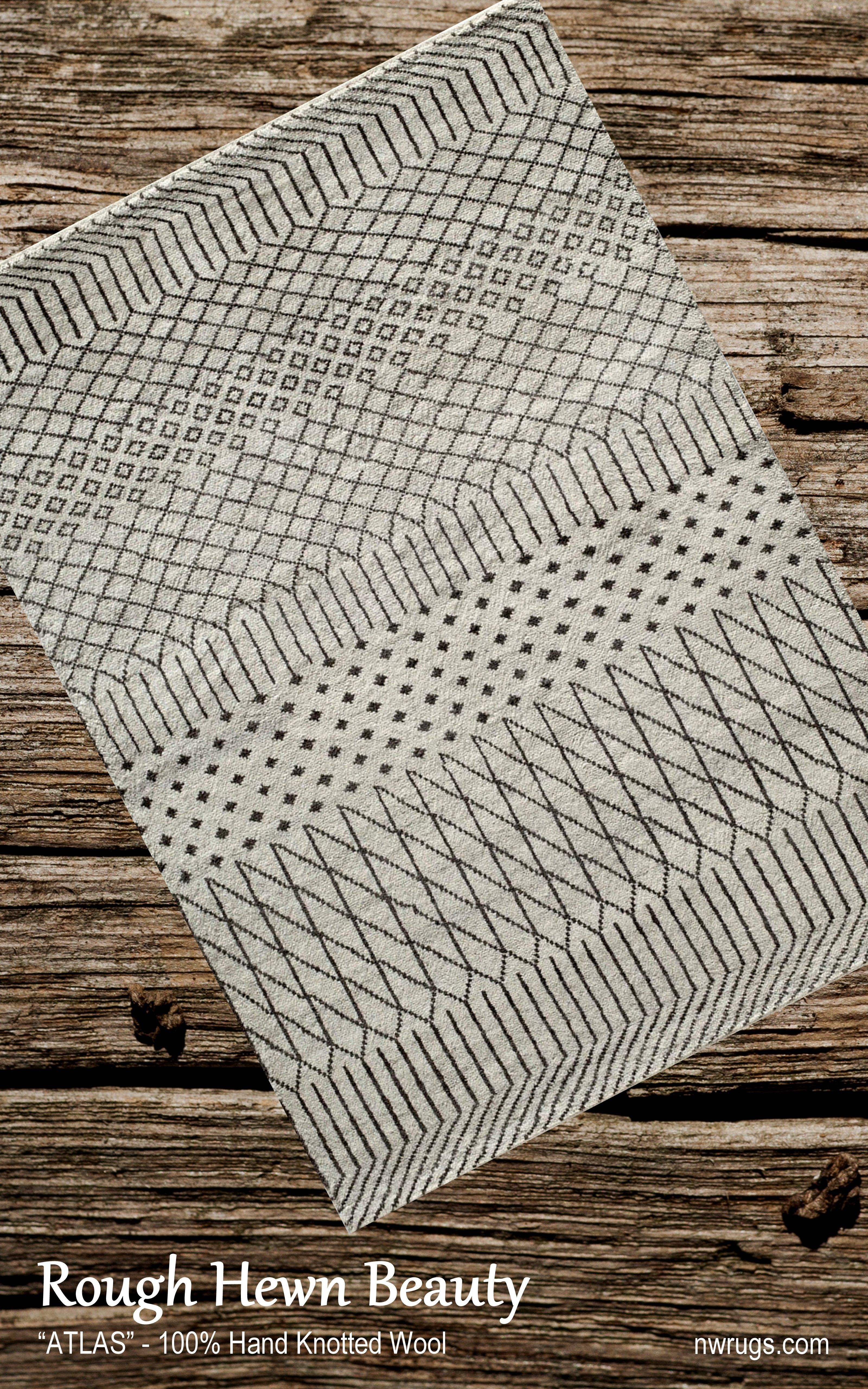 Atlas is inspired by gorgeous hand-crafted Moroccan rag-rugs. Maintaining the authentic texture of the nomadic craftsmanship combined with today's geometric styles and natural, understated color palette. Hand-knotted of 100% wool in India. #rugs #arearugs #moroccan #design #home #decorating #Portland #AgouraHills