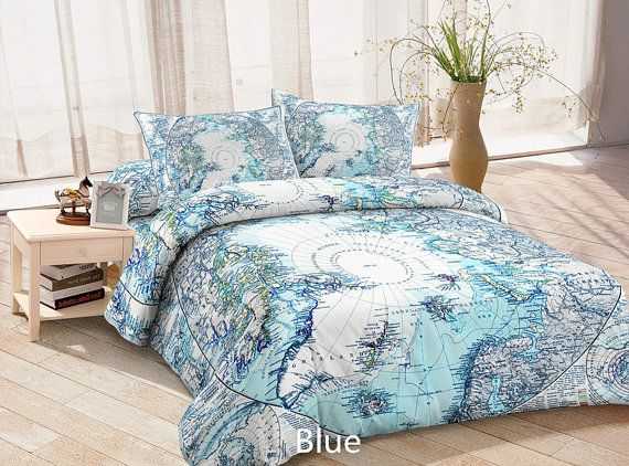 Blue Map Duvet Cover Map Bed Linen Map Bedding Collections 3D Printing  Custom Made Cool Bedding