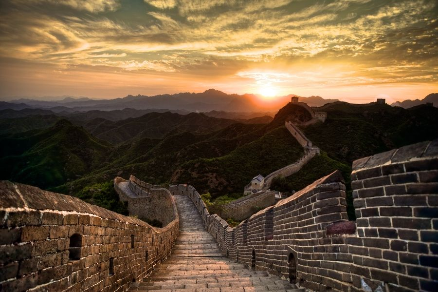 Image result for sunset great wall of china