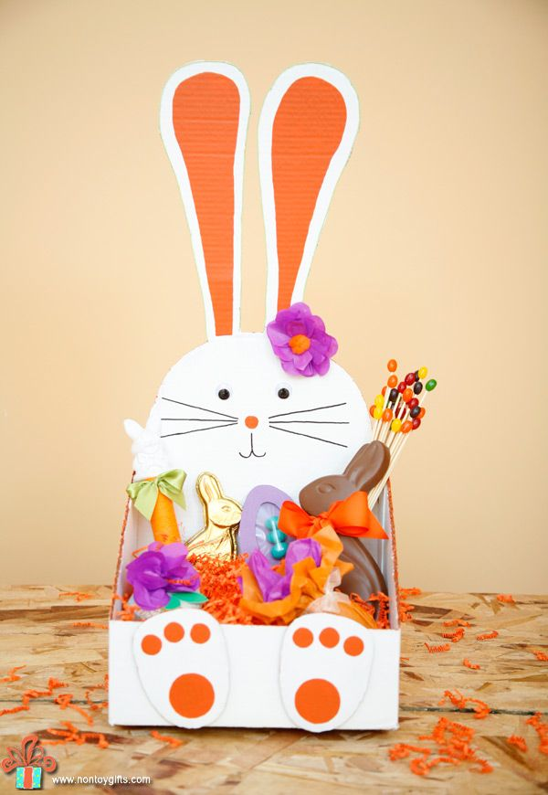 Diy bunny shaped easter basket cardboard boxes easter baskets diy bunny shaped easter basket to make from a cardboard box at non toy negle Image collections
