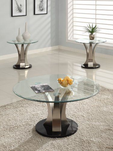 Acme 18410 Cady Coffee Table With 18411 Glass Chrome By Acme