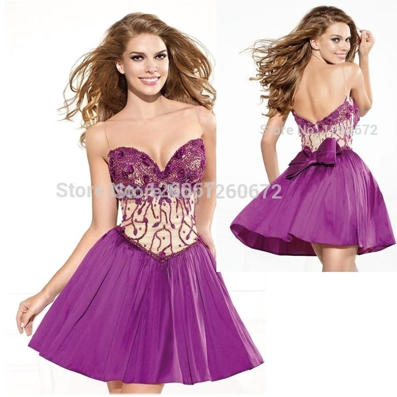 2015 fashion sexy cocktail dresses sweetheart beaded purple crepe ...