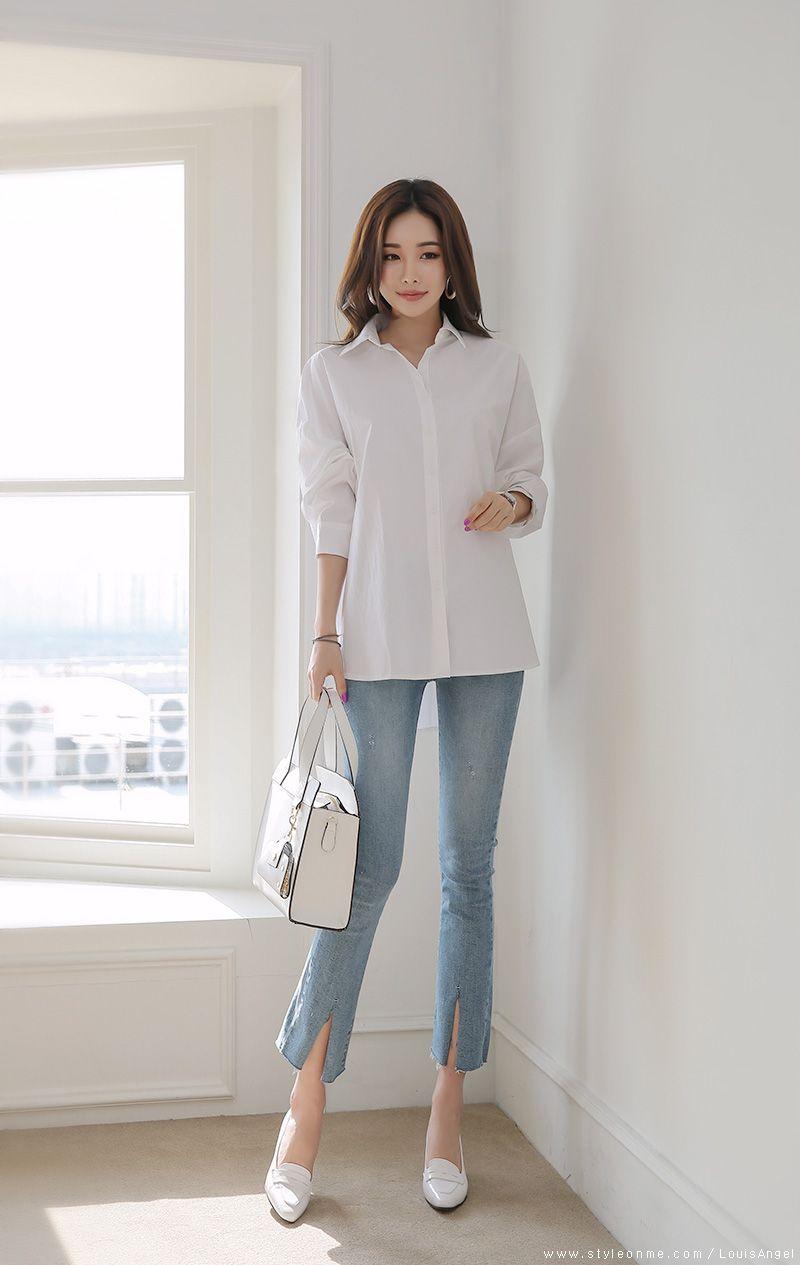 Chic Loose Fit Collared Shirt  Korean fashion trends, Korean