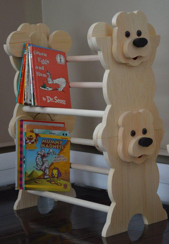 Girls Kids Childrens Wooden Nursery Bedroom Furniture Toy: Stackable Bear Bookshelf / Stackable Bookshelf By