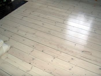 pine floor boards white wash finish