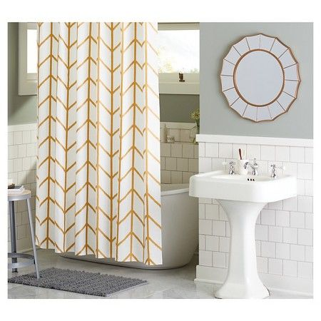 Shower Curtain Gold Ikat