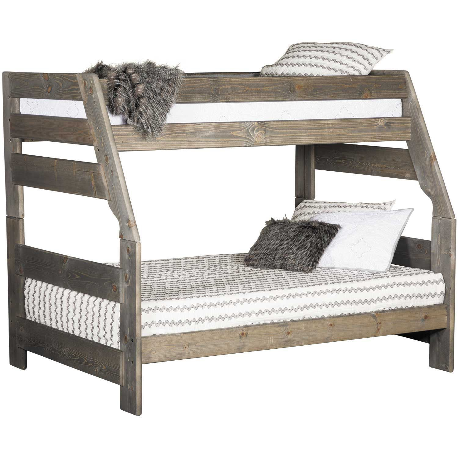 Cheyenne Driftwood Twin Over Full Bunk Bed Full Bunk Beds Bunk Beds Bunk Beds With Stairs