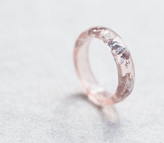 Nackte Blush Pink Harz Ring Stacking Ring Silber Flocken  Schmuck in 2019  Ringe silber Ringe