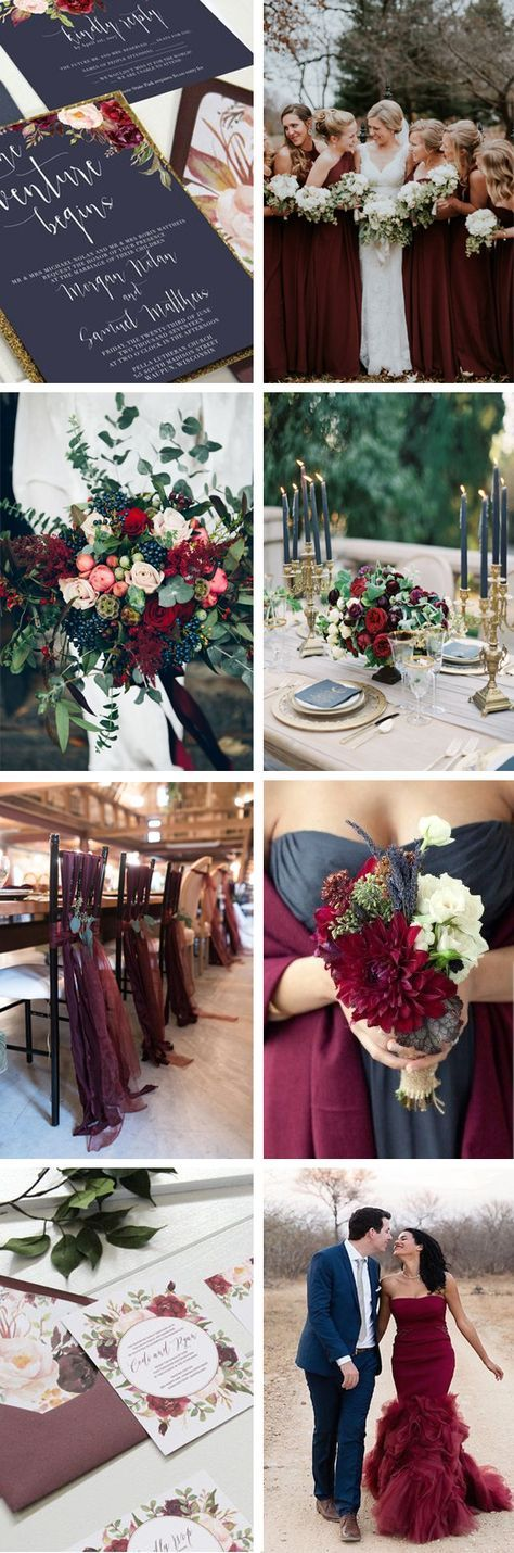 Navy and marsala wedding  Navy wedding  Marsala wedding  Burgundy wedding  Marsala table setting  Maroon bridesmaids dresses  Navy gold marsala wedding invitations by Unica Forma  Natural navy wedding is part of Red bouquet wedding -