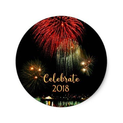 2018 new years fireworks in victoria harbor classic round sticker new years day celebrate party holiday new years day pinterest round stickers