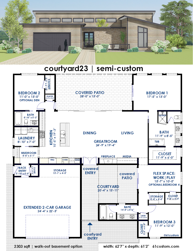 Courtyard23 Semi Custom Home Plan 61custom Contemporary Modern House Plans Courtyard House Plans Contemporary House Plans Modern Contemporary House Plans