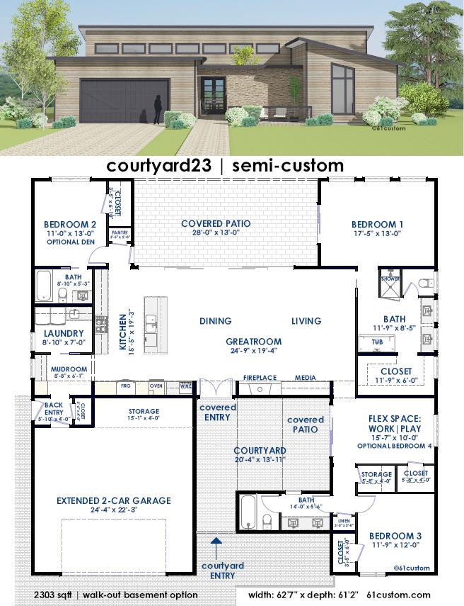Courtyard23 Semi Custom Home Plan 61custom Contemporary