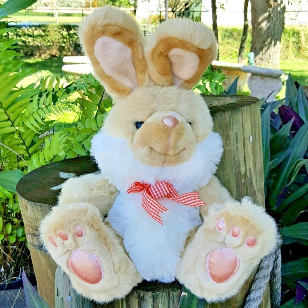 Easter Bunny Rabbit Plush Stuffed Animal Tan White Peach