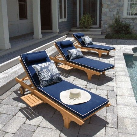 navy and white piped outdoor cushions - Google Search : patio chaise cushions - Sectionals, Sofas & Couches