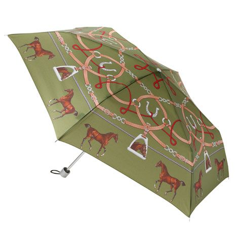 The horse depicted in this design, believed to be Flying Childers, has been taken from a painting of the infamous 18th century racing horse by James Seymour, 1702-52, 'Flying Childers', with groom. This is a folding umbrella.