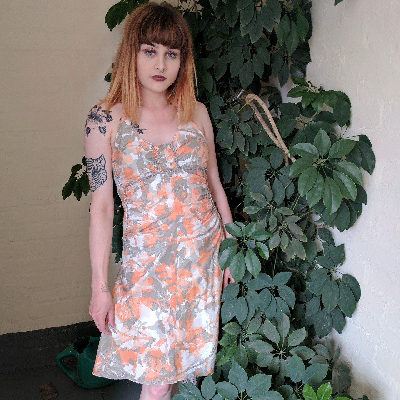 83d0a4d37a4d6 Listed on Depop by scarycanaryco. Vintage 90s style Armani Exchange coral  orange & grey camo effect print dress ...
