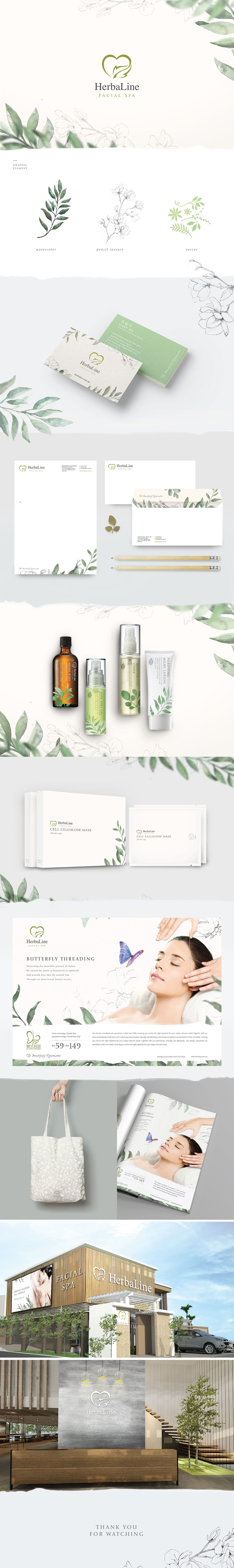 HerbaLine Facial Spa Branding on Behance