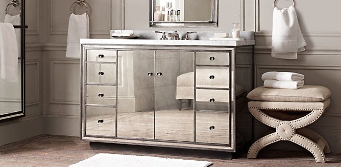 Mirrored vanity  Strand   Restoration HardwareMirrored vanity  Strand   Restoration Hardware   Interior design  . Kent Bathroom Vanity Restoration Hardware. Home Design Ideas