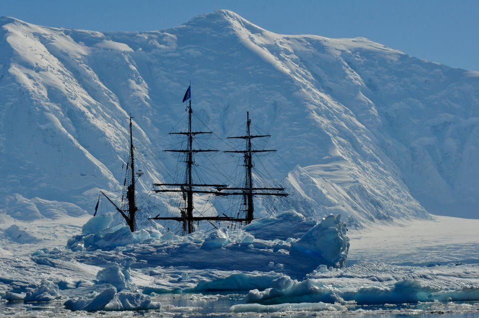 Sunny picture of the bark EUROPA in Antarctica, at the moment she is sailing with the NE tradewinds West of the Cabo Verde Islands.